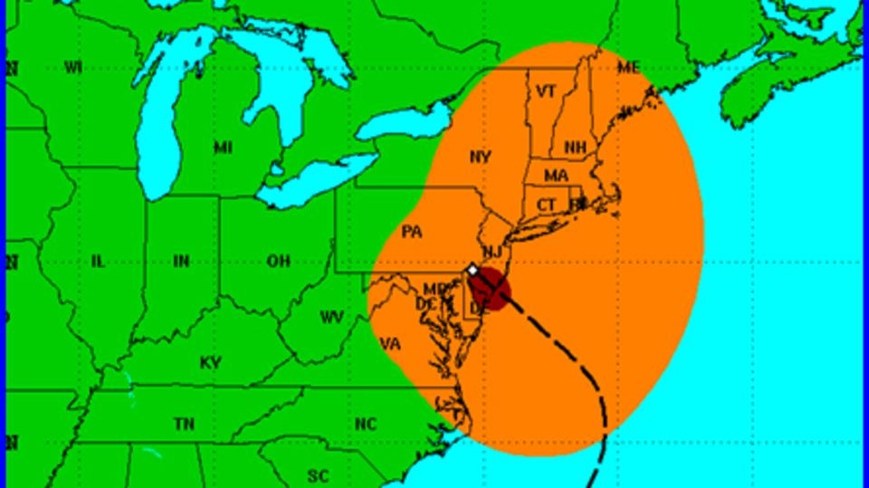 Carte de l'ouragan Sandy au 30 octobre 2012